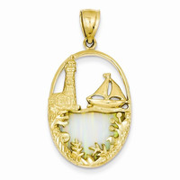 14kYellow Gold Opal Lighthouse Sailboat Pendant