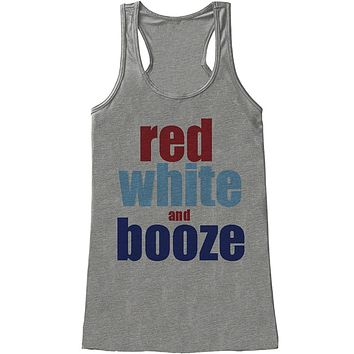 Custom Party Shop Ladie's Red White and Booze 4th of July Tank Top