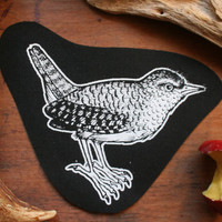 Wren patch - bird patch, wiccan sew on patch dark mori girl druid forest style patch hedge witch patch nature punk occult patch folklore