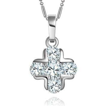 Small Very Cute Cross Protection Powers Amulet Silver-Tone Stud Style Crystals 18 Inch Necklace