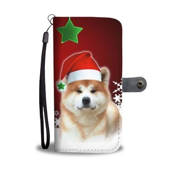 Akita Dog On Christmas Print Wallet Case-Free Shipping
