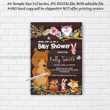 Woodland Animal Baby Shower, Jungle  woodland Invitation, bunny, bear, owl, deer, little girl party,  baby shower invitation - card 935