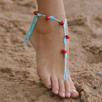 Crochet Turquoise Barefoot Sandals with red stone beads, Nude shoes, Foot jewelry, Wedding, Victorian Lace, Sexy, Yoga, Anklet , Bellyd