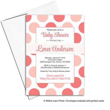 Polkadot baby shower invites girls | coral baby shower invitations modern | printable or printed - WLP00754