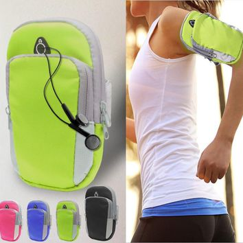 Mobile Phone 6 Inch Sport Armband Running Case For iPhone X 8 Plus Galaxy S9 Waterproof Camo Nylon Outdoor GYM Bag Headset Port