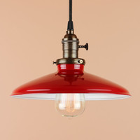 Pendant Lighting w/ 10 inch Cherry Red Porcelain Enamel Finish and Edison Light Bulb - Oil Rubbed Bronze Finish or Satin Nickel