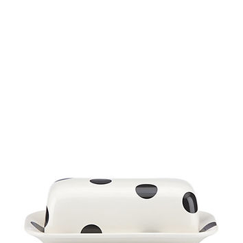 Kate Spade Deco Dot Covered Butter Dish Black/White ONE