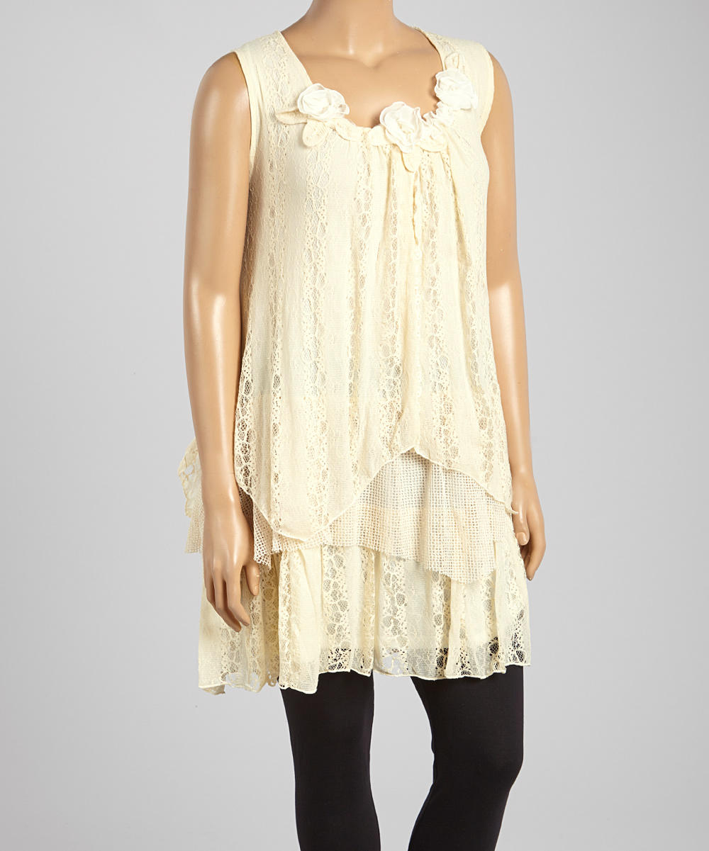 Pretty Angel Caramel Lace Sleeveless from zulily | Plus-Size