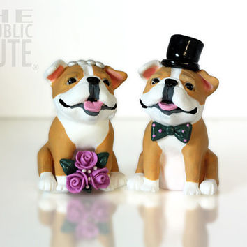 Bulldog Wedding Cake Toppers - Set of Two Custom Painted Sculptures- Customized Accessories Included