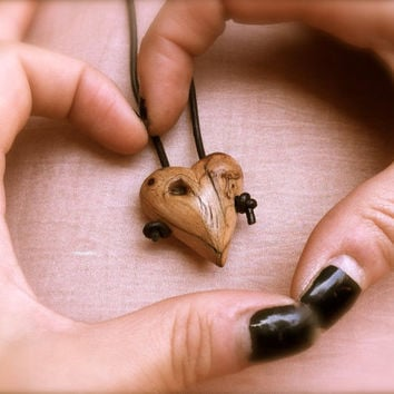 Wooden heart pendant, friendship necklace, wood jewelry, wooden heart, heart necklace, hearts,