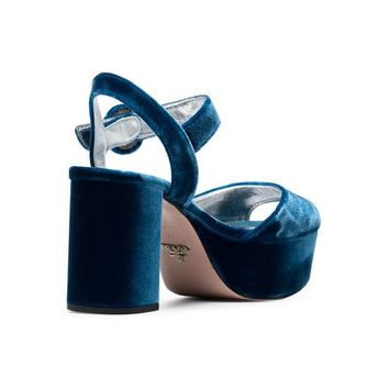 Prada Blue 85 Velvet Platform Sandals - Farfetch