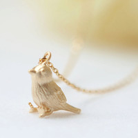 Little Sparrow Necklace in gold by laonato on Etsy