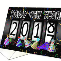 2018 New Years Odometer - Party Hats card