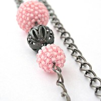 Soft pale pink beaded beads gunmetal necklace
