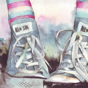 HM075 Original watercolor art painting of Converse All Stars with rainbow socks by Hel
