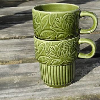 Olive Green Vintage Mugs Two Stackable Coffee Cups Made in Japan