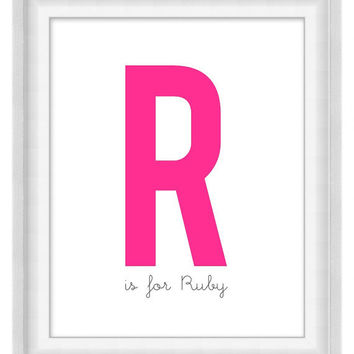 Printable Poster - Big Letter Nursery Sign - Vertical 8x10 - Digital Wall Art