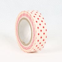 White Washi Masking Tape Roll Adhesive Stickers  red by CharmTape