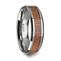 AVENDOR Tungsten Wedding Band with Polished Bevels and African Sapele Wood Inlay