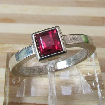 Ruby Ring in 14k White Gold Bezel Setting July Birthstone Gemstone Jewelry Square Cut Ruby