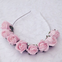 Baby Pink pastel Rose Bud floral crown headband
