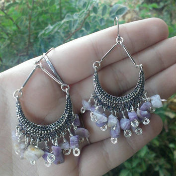 10% Off Crescent Moon Amethyst Wire Wrapped Chip Boho Chandelier Earrings Silver