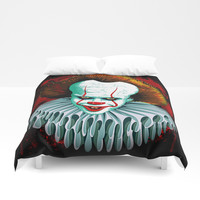 The Dancing Clown - Pennywise IT - Vector - Stephen King Character Duvet Cover by BluedarkArt