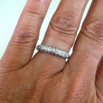 Vintage CZ Signed FAS Silver Tone Band Ring Size 7 2.1(gr)
