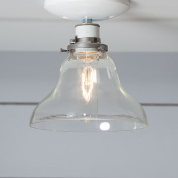 Glass Bell Shade Light - Ceiling Mount - Semi Flush Mount Lamp