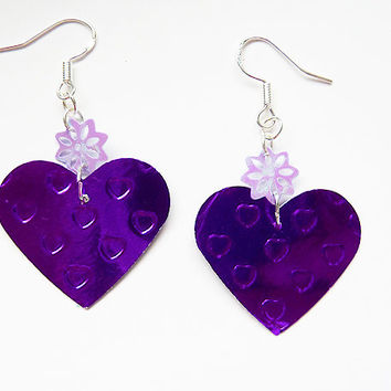 Purple Heart Earrings - paper jewellery - paper earrings - Metallic Cardboard earrings - unique gift for her  gift for girlfriend cute gift