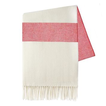 Sydney Herringbone Stripe Throw | Coral