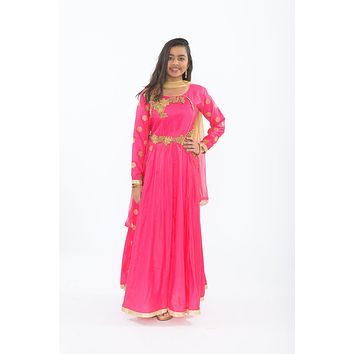 Electric Pink and Gold Anarkali Petite Size