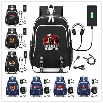 Hot game Red Dead: Redemption Printed backpack teenagers School Bags multifunction USB charging Headphone Unisex Travel Rucksack