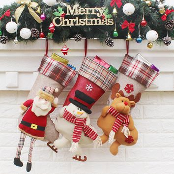 3 piece set Plaid Santa, Reindeer and Snowman Christmas Stockings
