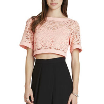 Wide-Neck Crop Top in Red/Tan - BCBGeneration