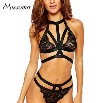 Missomo 2017 New Fashion Women Black Sexy Choker Bra Lace Underwear Straps Bralette Panties Soft Trim Bra Sets