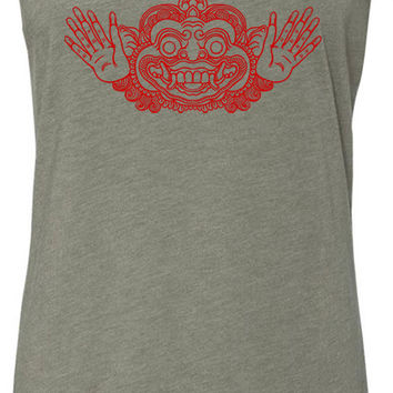 Bali Mask (Red) Tri-Blend Racerback Tank-Top