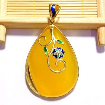 Cloisonne Flowers Lace Yellow Natural Chalcedony 925 Pendant