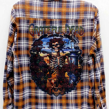 Grateful Dead Skull N Roses Reworked Vintage Flannel