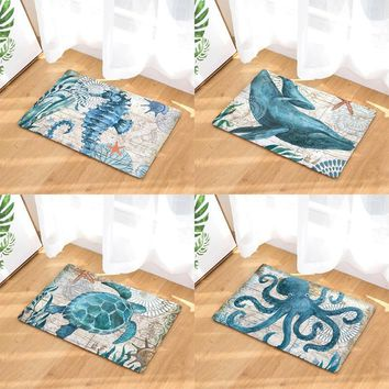 Autumn Fall welcome door mat doormat Homing New Arrive Sea Animal Turtles  Entrance Door Light Thin Flannel Cute Cartoon Cozy Carpets Home Decor Kitchen Mats AT_76_7