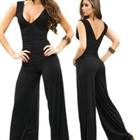 Sexy Black V-Neck Sleeveless Halter Jumpsuit