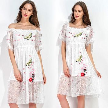 ac DCK83Q Summer Women's Fashion Lace Embroidery Short Sleeve Shaped One Piece Dress [10363196108]