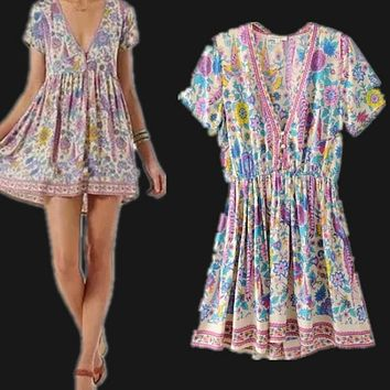 Fall New Style Peacock Printed Deep V Neck Vintage Boho Dress Short Sleeve Dress High Waist Sexy Short Dress Free Shipping 2017