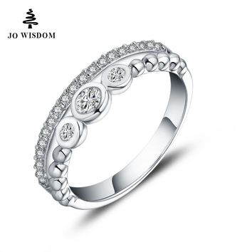 JO WISDOM Silver Rings 925 Silver Jewelry Simple Rings for Women Wedding Ring Engagement Ring for Women Best Gift for Lover