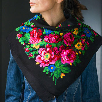 Vintage floral shawl pink roses black background. Bohemian shawl floral ornament. Lady scarf hippie chic. Gipsy shawl warm square black red