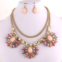 Pastel Crystal Necklace/Earrings Set