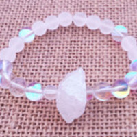 Crystal Quartz Aura Angel Quartz Beaded Energy Bracelet Women's Jewellery Wrist Mala