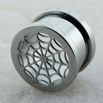 Cut Out Spider's Web Stainless Steel Screw Fit Flesh Tunnel Ear Plug Taper Stretcher Plug Double Flared Plugs