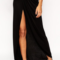 Black Cotton Maxi Skirt with Slit