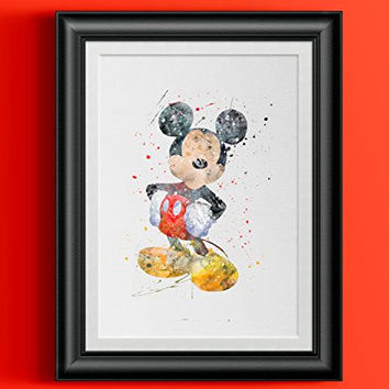 Mickey Mouse Watercolor Home Print